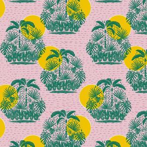 jungle stamp repeat 3 - retro pink