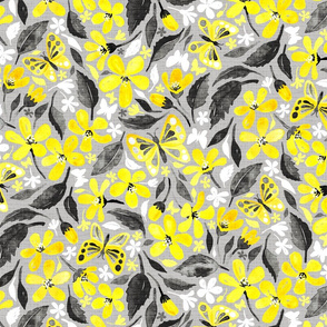 Buttercup Yellow and Silver Grey Watercolor Floral with Butterflies