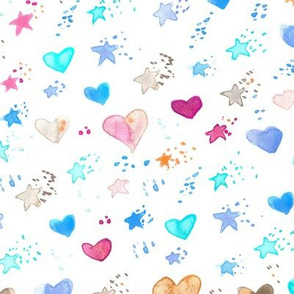 watercolor sweet stars and hearts for nice modern nursery kids baby - painted lovely pattern a077 -1