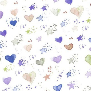 watercolor sweet stars and hearst for nice modern nursery kids baby - painted lovely pattern a077 -2