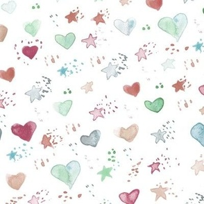 watercolor sweet stars and hearst for nice modern nursery kids baby - painted lovely pattern a077 -3