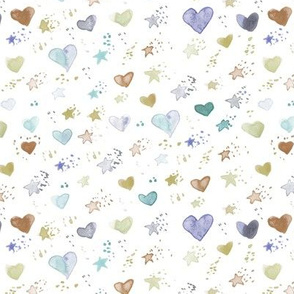 watercolor sweet stars and hearst for nice modern nursery kids baby - painted lovely pattern a077 -4