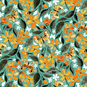 Warm Orange and Teal Watercolor Butterfly Floral
