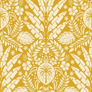 Hawaiian Damask  - Yellow Large Scale