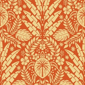 Hawaiian Damask - Red Large Scale