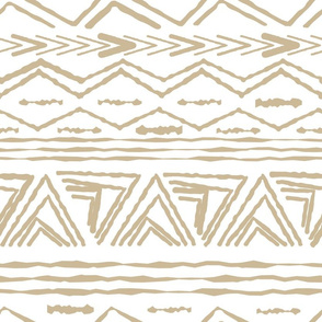 Seamless repeat pattern with random rough, twisted part of triangles or broken beige lines on white background