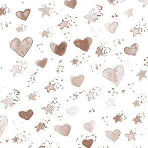 earthy boho watercolor sweet stars and hearst for nice modern nursery kids baby - painted lovely pattern a077