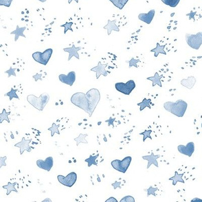 Soft indigo watercolor sweet stars and hearst for nice modern nursery kids baby - painted lovely pattern a077