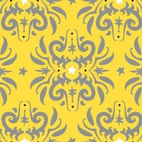 yellow and gray damask