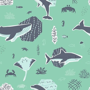 Whale, shark, stingray, seahorse, crab, fish, dolphin animals and corals, algae seamless pattern