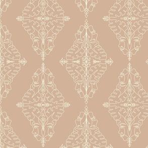 One Line Damask Vintage Pink