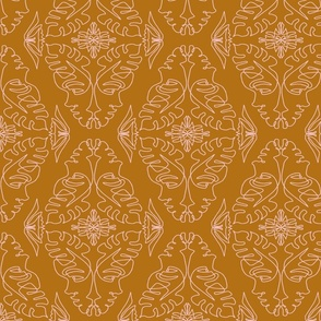 One Line Lady Damask Golden