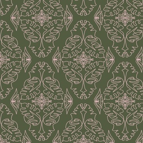 One Line Lady Damask Green