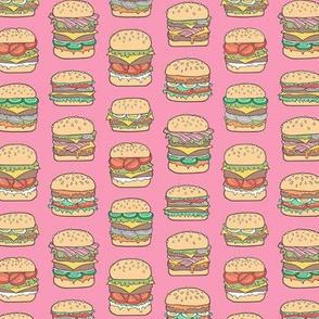 Hamburgers Junk Food Fast food on Pink Smaller 1,5 inch