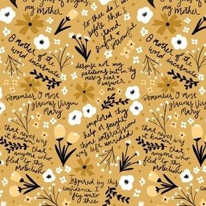 Memorare Prayer Yellow Floral
