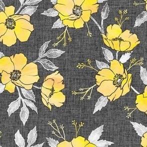 Emma Floral Yellow Grey