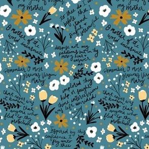 Memorare Prayer, Teal and Yellow Floral