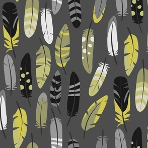 Yellow Gray Feathers