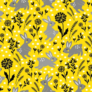 yellow spring with grey bunnies