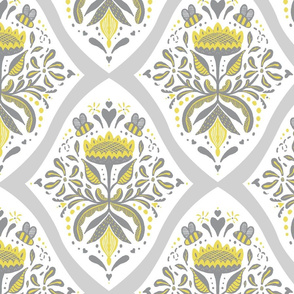 Sunflower and bees Damask
