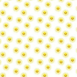 (micro scale) Sunshine - cute suns - yellow and white - C21