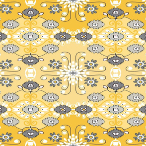 RETRO GOLD AND GREY FLORAL