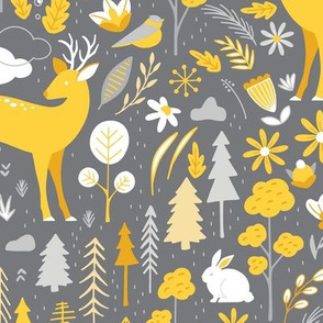 Woodland Forest Animals Deer Trees Floral Gray Yellow
