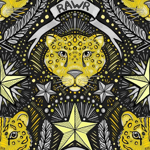 tiger leopard damask gray and mustard