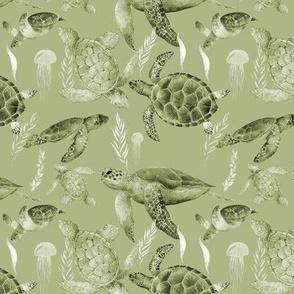 Retro Sepia Sea Turtles Small print