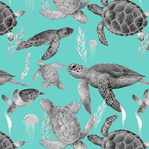Turquoise and Gray Sea turtles