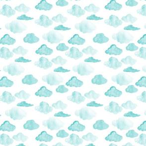 Watercolor Aqua Clouds half scale