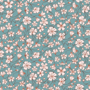 Ditsy White Flowers - Blue and Pink