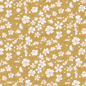 Ditsy White Flowers - Mustard and Gray