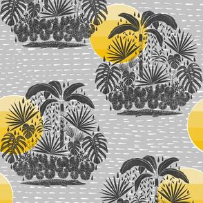 Jungle Sunshine - Gray and Yellow