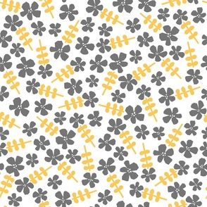 Cutout Flowers - Yellow and Grey