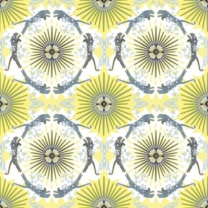 Leopard Starburst Yellow and Gray