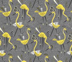 Happy Cranes- Yellow & Gray