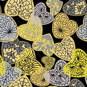 Carved Hearts-Yellow and Gray on Black