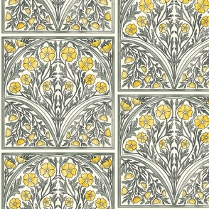 Yellow/Gray Floral