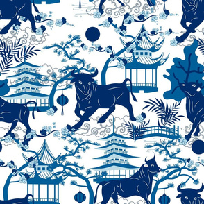 Year of the Metal Ox Toile Chinoiserie- Lunar New Year- Japanese Pagoda- Blue on White- Large Scale
