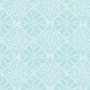 Hawaiian Quilt Aqua & White