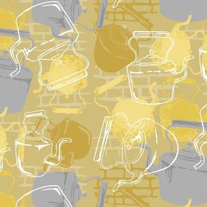 Victorian Tea Kettles Grey & Yellow