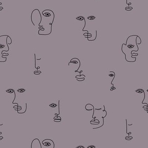 The minimalist faces picasso surrealism style inspired line drawing in ink purple black SMALL