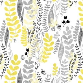 Bee garden yellow and grey