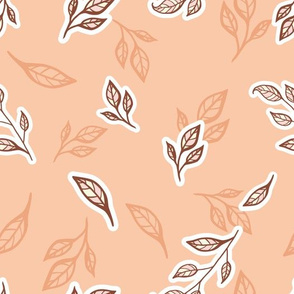 Apple Tree Leaves in Soft Orange Shades seamless pattern background.