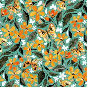 Warm Orange and Teal Watercolor Butterfly Floral - small