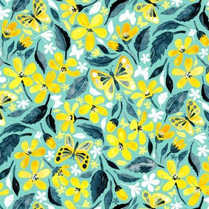 Yellow and Teal Summer Floral with Butterflies and Blooms - small