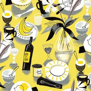 still life table yellow grey