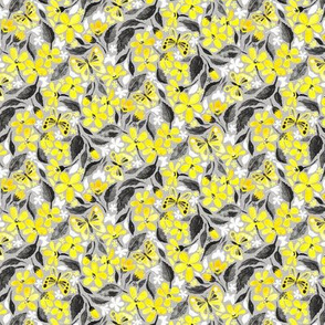 Buttercup Yellow and Silver Grey Watercolor Floral with Butterflies - micro print