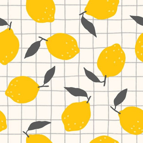 Lemons and plaid pattern